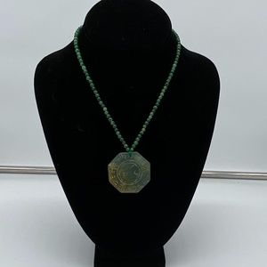 Vintage Green Beaded Necklace with Pendant